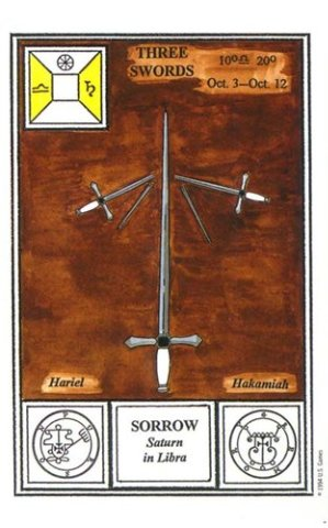 Таро Церемониальной магии. тройка мечей