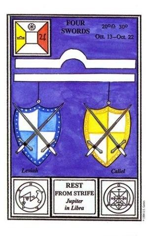 Таро Церемониальной магии.  четверка мечей