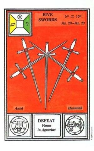 Таро Церемониальной магии. пятерка мечей