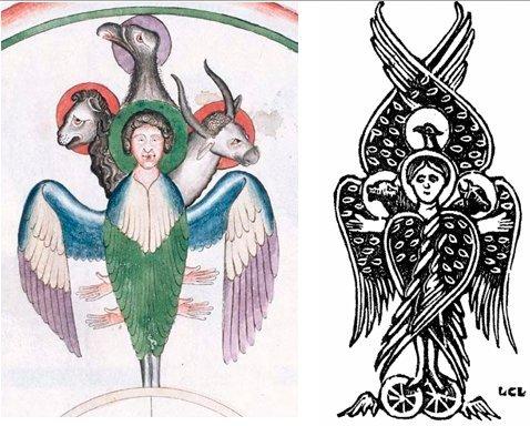 Варианты изображения Тетраморфа в виде фигуры с четырьмя лицами.