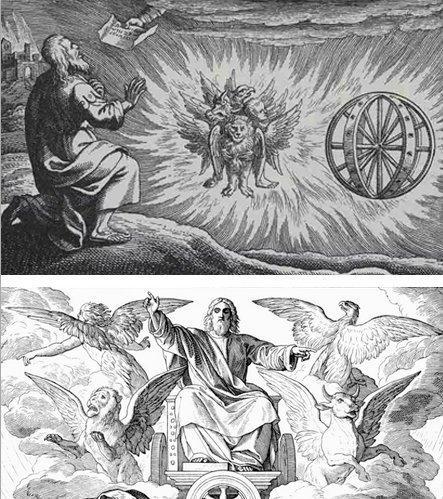 Иллюстрации к видениям Иезекииля, изобразившие Тетраморфа как одно существо и как четыре разных.