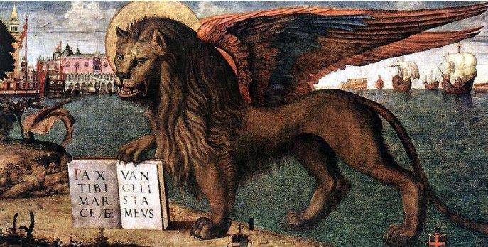 Лев с книгой - символ апостола Марка на картине Витторе Карпаччо
