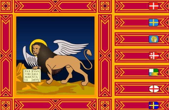 Лев Тетраморфа на гербе провинции Венето в Италии
