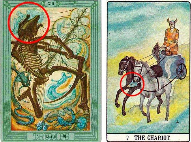 Орел на карте Таро Смерть и Колесница