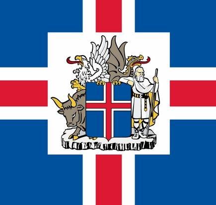 Почти Тетраморф - бык, человек, орел и дракон на гербе Исландии