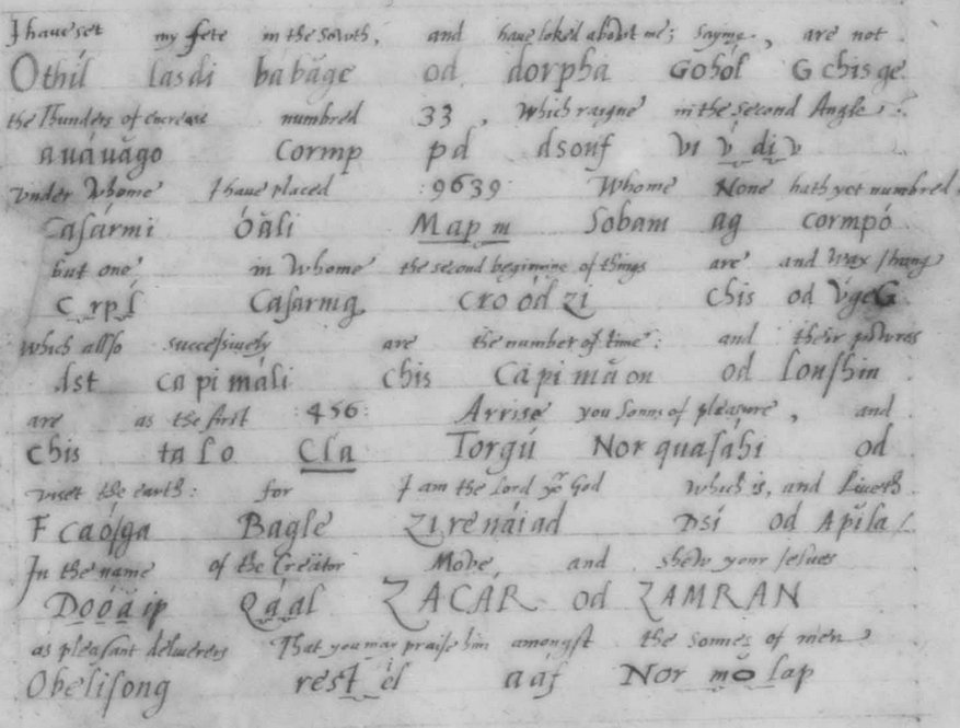 4 Енохианский Зов, рукописи Ди