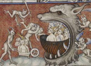 Грешники в аду, средневековый рисунок