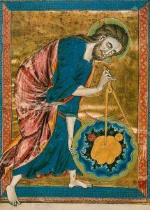 Бог с циркулем во время создания мира. Средневековый рисунок