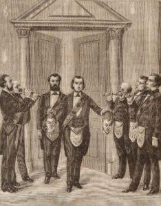 """Рисунок из книги """"Дьявол в 19 веке"""" - масоны с отрубленными головами"""