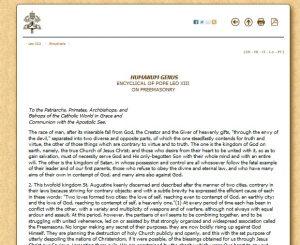 Энциклика Папы Льва 13 против масонов на сайте Ватикана