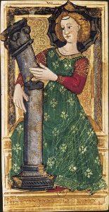 Таро Григонье (Карла 6), карта Сила. Сломанная колонна - намек на историю Самсона.