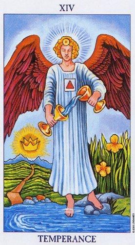 Умеренность как ангел, стоящий на суше и воде, снова образ из Апокалипсиса